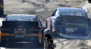 Mayhem in Fontana: Logano's block, Hamlin's crash   NASCAR com