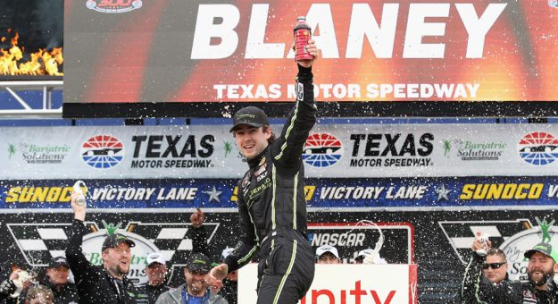 Ryan Blaney celebrates winning the Xfinity Series race in Texas.