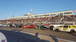The Super Street field assembles on the Langley Speedway frontstretch.