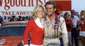James Hylton celebrates in Victory Lane after winning the 1972 race at Talladega Superspeedway.