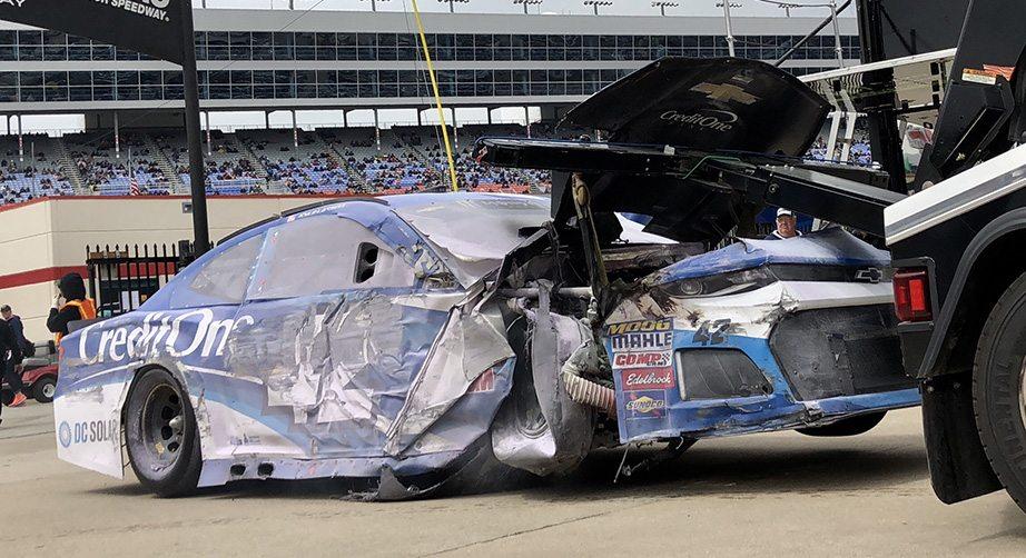 Kyle larson endures violent crash at texas for Larson motors used cars