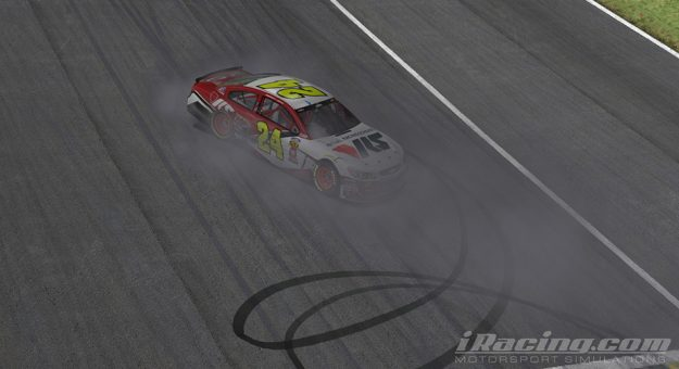 Keegan Leahy celebrates with a burnout in iRacing