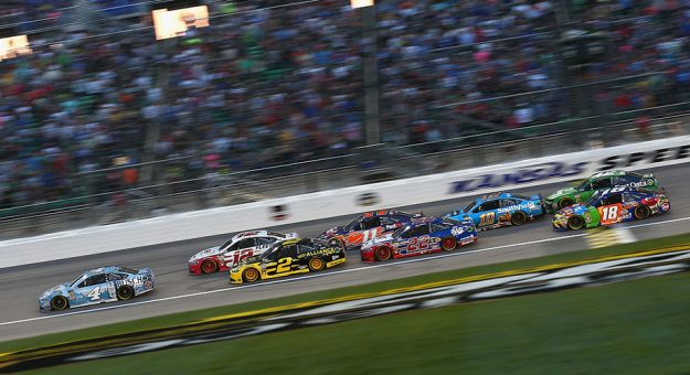 Kevin Harvick leads the field at Kansas Speedway.