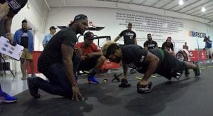 A participant in the Pit Crew Combine performs a workout.