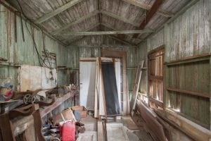 An interior view of the toolshed of the home Dale Jr. and Amy will renovate.