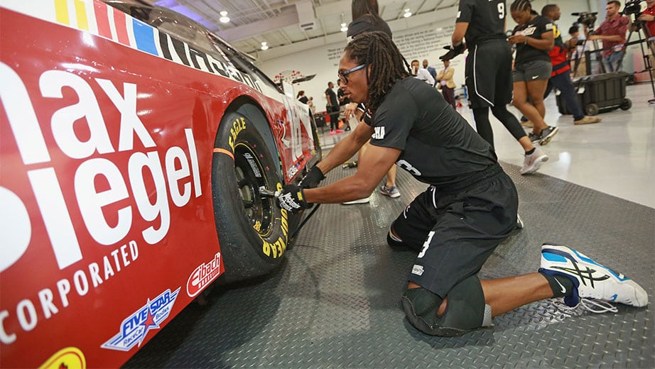 Keiston France changing a tire