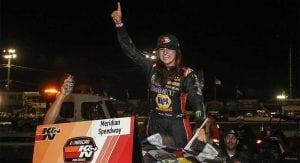 Hailie Deegan celebrates her win