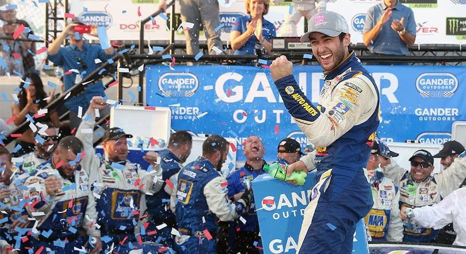 Chase Elliott celebrates Dover