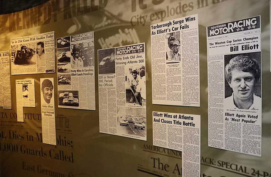 Newspaper clips of Bill Elliott