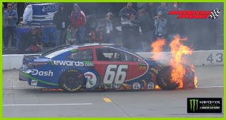 Timmy Hill's No. 66 catches fire at Martinsville