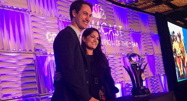 Joey Logano and his wife, Brittany, accept the 2018 Comcast Community Champion of the Year Award.
