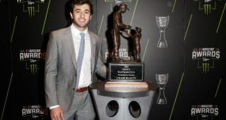 LAS VEGAS, NV - NOVEMBER 29:  Chase Elliott poses with his most popular driver award during the Monster Energy NASCAR Cup Series Awards Celebration at the Wynn Las Vegas on November 29, 2018 in Las Vegas, Nevada.  (Photo by Chris Graythen/Getty Images) | Getty Images