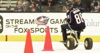 Bowman visits Ohio State, races on Blue Jackets ice