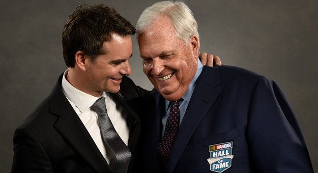 Jeff Gordon and Rick Hendrick after Hendrick was inducted into the NASCAR Hall of Fame