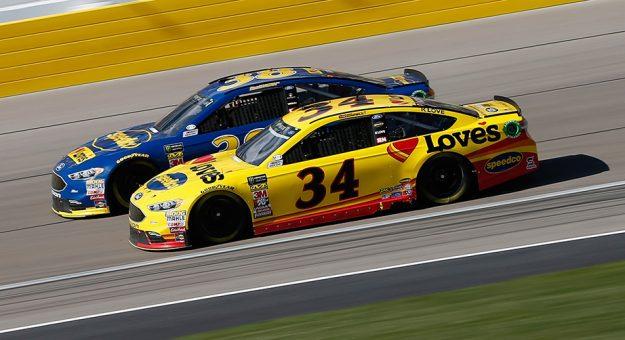 Front Row Motorsports teammates Michael McDowell and David Ragan race at Las Vegas.