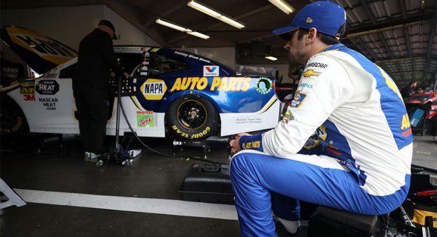 Chase Elliott in the garage