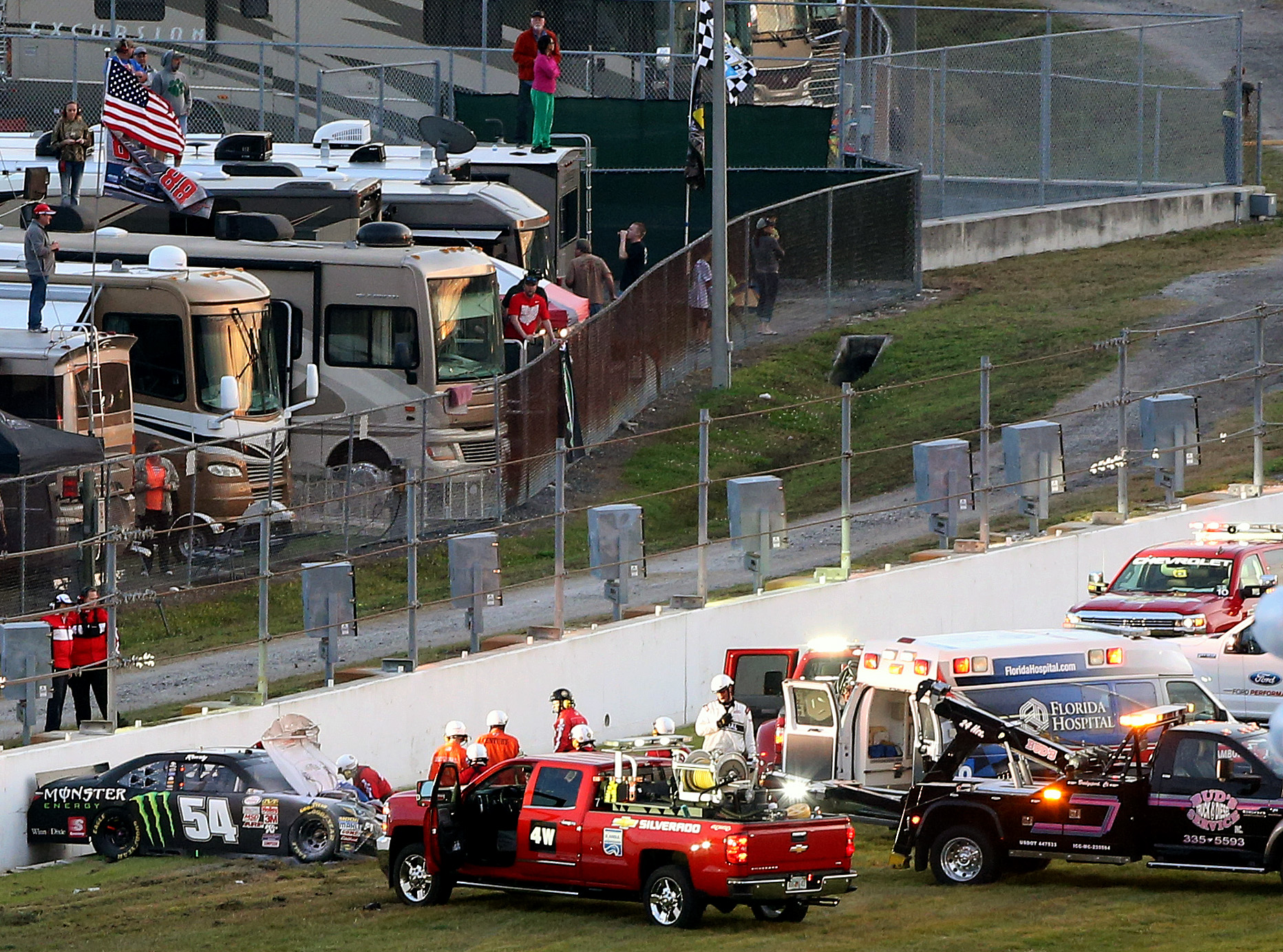 DAYTONA BEACH, FL - FEBRUARY 21: The car of Kyle Busch, driver of the #54 Monster energy Toyota, is seen against a wall after crashing during the NASCAR XFINITY Series Alert Today Florida 300 at Daytona International Speedway on February 21, 2015 in Daytona Beach, Florida. Busch was transported to a local hospital with a lower body injury and will not race in the NASCAR Sprint Cup Series Daytona 500 tomorrow. (Photo by Brian Lawdermilk/Getty Images) | Getty Images