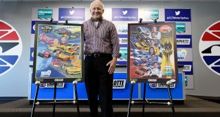 Artist Sam Bass poses for a photo opportunity with his artwork for the NASCAR All-Star and Coca-Cola 600 weekend program covers during the NASCAR XFINITY Series test session at Charlotte Motor Speedway on May 2, 2017 in Charlotte, North Carolina. (Photo by Jared C. Tilton/Getty Images) | Getty Images
