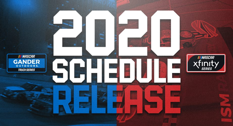 graphic regarding Nascar Schedule Printable named 2020 schedules for Xfinity Collection, Gander Vans revealed