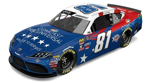 The patriotic No. 81 Toyota that Jeffrey Earnhardt plans to pilot at Chicagoland Speedway.