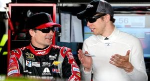 Brad Keselowski chats with Jeff Gordon