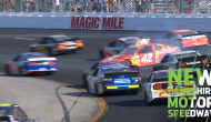 Kyle Larson gets sideways during late restart at Loudon