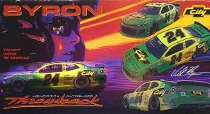 The retro No. 24 Chevrolet poster with Days of Thunder design for Darlington Raceway.