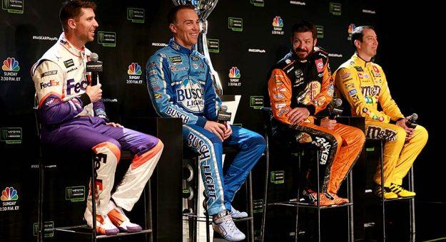 Denny Hamlin, Kevin Harvick, Martin Truex Jr. and Kyle Busch at NASCAR Championship 4 Media Day