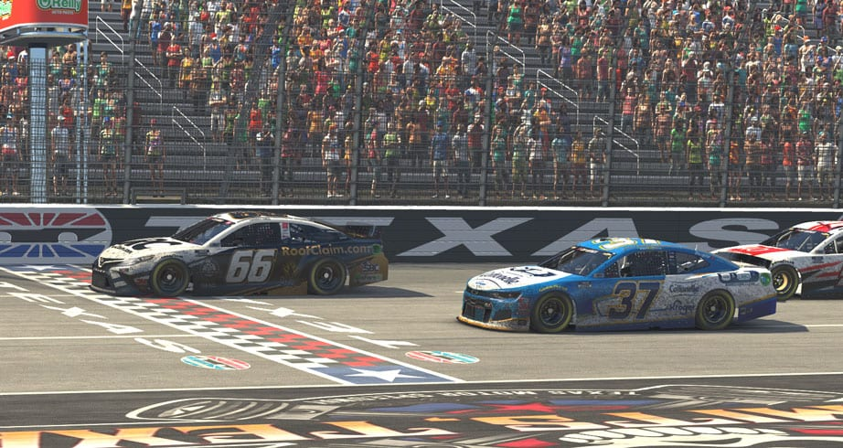 Hill bumps Byron, wins iRacing race at Texas