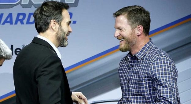 LAS VEGAS, NV - NOVEMBER 28:  Dale Earnhardt Jr. talks with Jimmie Johnson during Appreci88ion, An Evening With Dale Earnhardt Jr. Presented By Nationwide at The Cosmopolitan of Las Vegas on November 28, 2017 in Las Vegas, Nevada.  (Photo by Jonathan Ferrey/Getty Images) | Getty Images