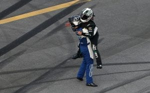 TALLADEGA, ALABAMA - JUNE 20: Justin Haley, driver of the #11 LeafFilter Gutter Protection Chevrolet, celebrates with AJ Allmendinger, driver of the #16 Ellsworth Advisors Chevrolet, after winning the NASCAR Xfinity Series Unhinged 300 at Talladega Superspeedway on June 20, 2020 in Talladega, Alabama. (Photo by Brian Lawdermilk/Getty Images) | Getty Images