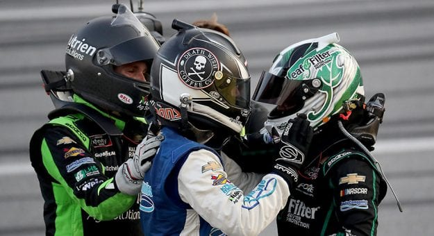 TALLADEGA, ALABAMA - JUNE 20: (R-L)Justin Haley, driver of the #11 LeafFilter Gutter Protection Chevrolet, celebrates with AJ Allmendinger, driver of the #16 Ellsworth Advisors Chevrolet, and Ross Chastain, driver of the #10 Nutrien Ag Solutions Chevrolet, after winning the NASCAR Xfinity Series Unhinged 300 at Talladega Superspeedway on June 20, 2020 in Talladega, Alabama. (Photo by Chris Graythen/Getty Images) | Getty Images