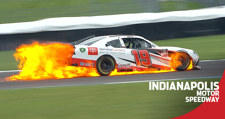 Brandon Jones' car goes up in flames at Indianapolis