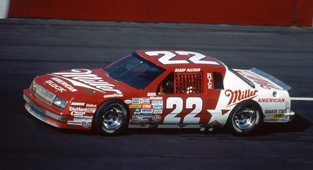 DARLINGTON, SC - APRIL 13, 1986:  Bobby Allison on his way to finishing third in the TranSouth 500 NASCAR Cup race at Darlington Raceway. (Photo by ISC Images & Archives via Getty Images)