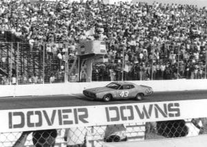 DOVER, DE Ð 1970s: Richard Petty gets the checkered flag as he takes a NASCAR Cup win at Dover Downs International Speedway in the mid-1970s. (Photo by ISC Images & Archives via Getty Images)
