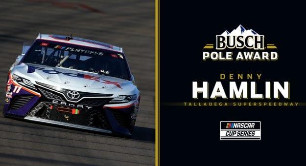 Denny Hamlin Busch Pole Award graphic