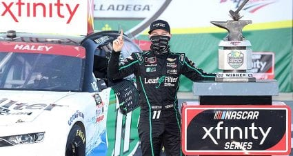Justin Haley rises from late Talladega scramble, wins to advance in Xfinity playoffs