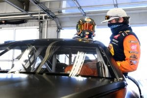 CONCORD, NORTH CAROLINA - NOVEMBER 16: Martin Truex Jr. climbs into the NASCAR Next Gen car during the NASCAR Cup Series test at Charlotte Motor Speedway on November 16, 2020 in Concord, North Carolina. (Photo by Jared C. Tilton/Getty Images) | Getty Images