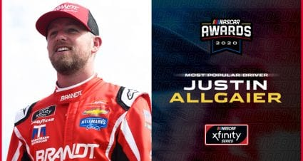 Justin Allgaier wins Most Popular Driver in Xfinity Series