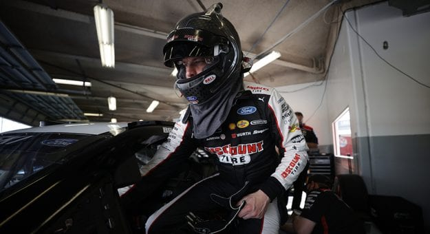 DAYTONA BEACH, FLORIDA - FEBRUARY 10: Brad Keselowski, driver of the #2 Discount Tire Ford, enters his car in the garage area during practice for the NASCAR Cup Series 63rd Annual Daytona 500 at Daytona International Speedway on February 10, 2021 in Daytona Beach, Florida. (Photo by Chris Graythen/Getty Images) | Getty Images