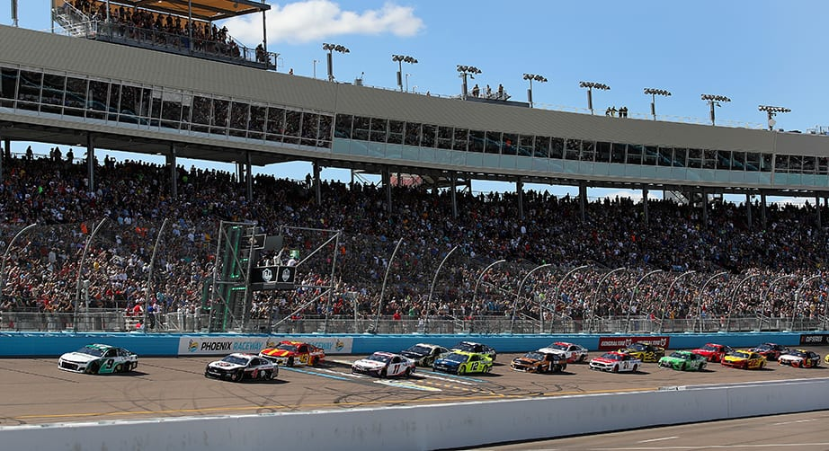 AVONDALE, ARIZONA - MARCH 08: Chase Elliott, driver of the #9 UniFirst Chevrolet, leads drivers during the NASCAR Cup Series FanShield 500 at Phoenix Raceway on March 08, 2020 in Avondale, Arizona. (Photo by Christian Petersen/Getty Images) | Getty Images