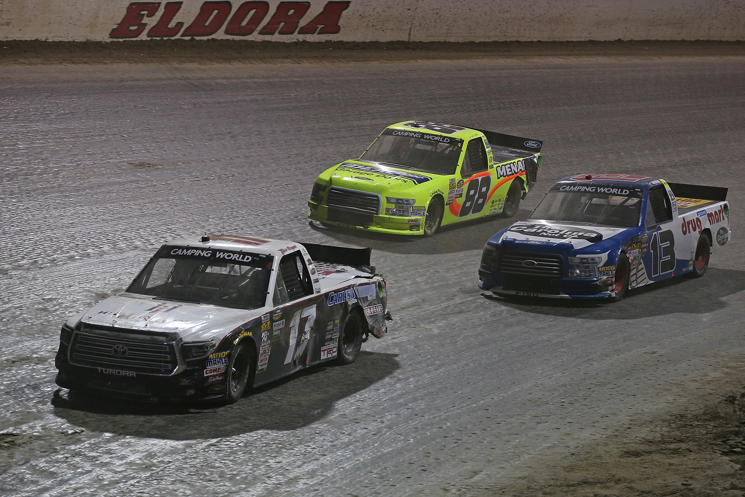 ROSSBURG, OH - JULY 18: Tyler Dippel, driver of the #17 Hue Jackson Foundation/Caruso Logistics Toyota, leads a pack of trucks during the NASCAR Camping World Truck Series Eldora Dirt Derby at Eldora Speedway on July 18, 2018 in Rossburg, Ohio. (Photo by Matt Sullivan/Getty Images) | Getty Images