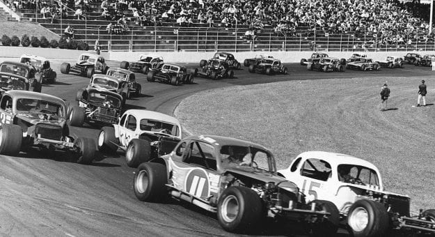 MARTINSVILLE, VA — Early-1970s:  The field of NASCAR Modified stock cars gets set for the start of a race at Martinsville Speedway.  (Photo by ISC Images & Archives via Getty Images)