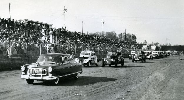 MARTINSVILLE, VA:  The pace lap for an early Modified stock car race at Martinsville Speedway. (Photo by ISC Images & Archives via Getty Images)