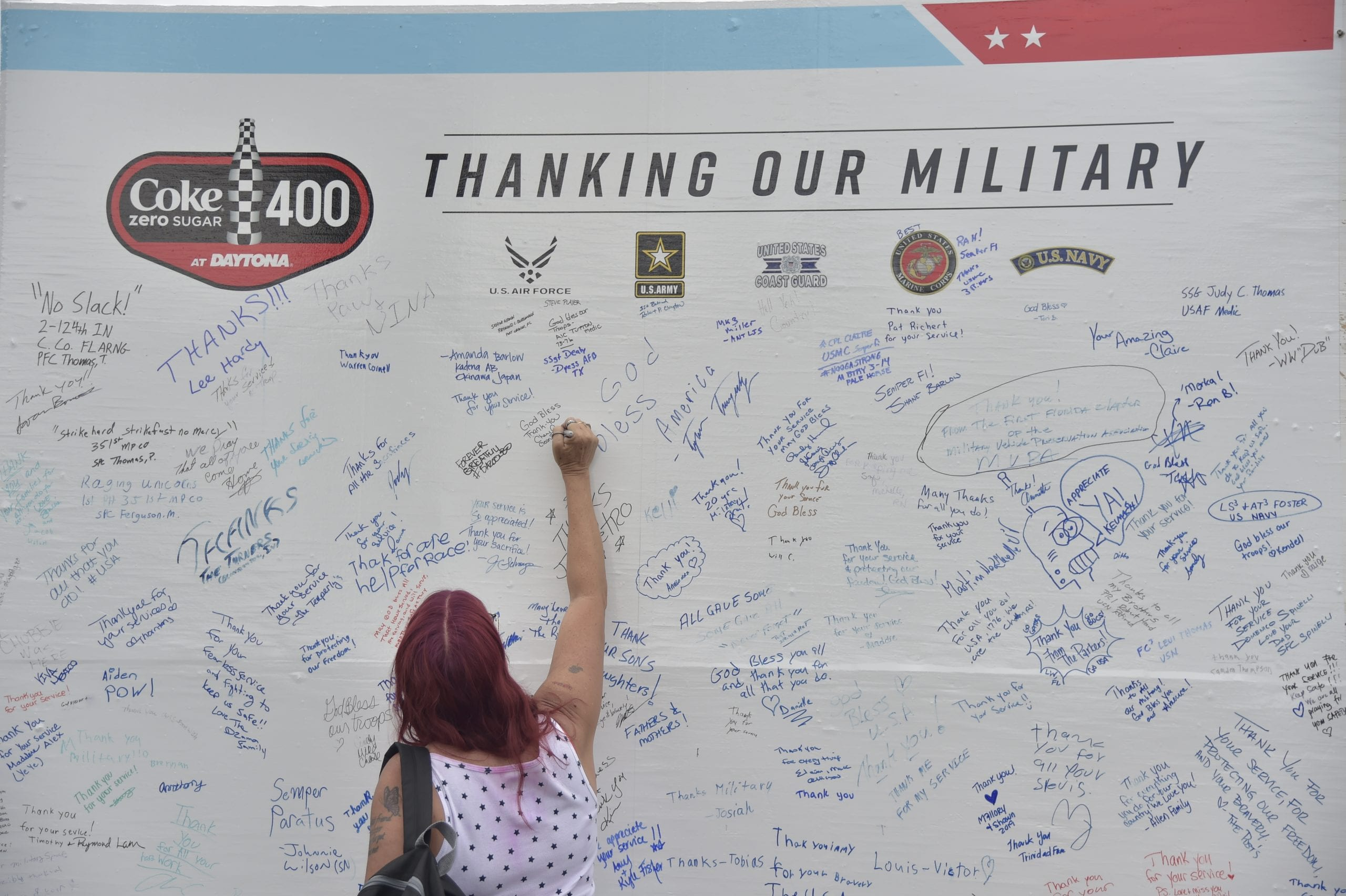 DAYTONA BEACH, FLORIDA - JULY 06: The NASCAR Salutes branding on the activation, military during the Monster Energy NASCAR Cup Series Coke Zero Sugar 400 at Daytona International Speedway on July 06, 2019 in Daytona Beach, Florida. (Photo by Jeff Curry/Getty Images) | Getty Images