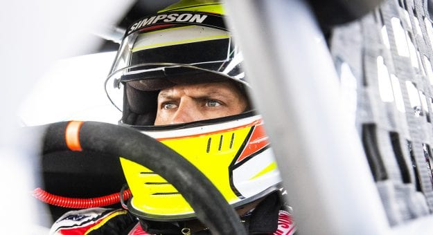 Eric Goodale, driver of the #58 GAF Roofing Chevrolet, before the NAPA Auto Parts Spring Sizzler for the NASCAR Whelen Modified Tour at Stafford Motor Speedway on April 30, 2021 in Stafford Springs, Connecticut. (Adam Glanzman/NASCAR)