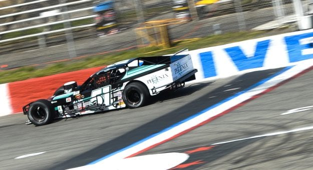 Justin Bonsignore, driver of #51 Phoenix Communications Inc. Chevrolet with the fastest time during practice during the Miller Lite 200 for the NASCAR Whelen Modified Tour at Riverhead Raceway in Riverhead, New York on May 15, 2021. (Kathryn Riley/NASCAR)