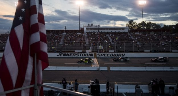 Crews and fans look on during the Laurel Highlands 150 for the NASCAR Whelen Modified Tour at Jennerstown Speedway in Jennerstown, Pennsylvania and wins on Saturday, August 22, 2020. (Nate Smallwood/NASCAR)