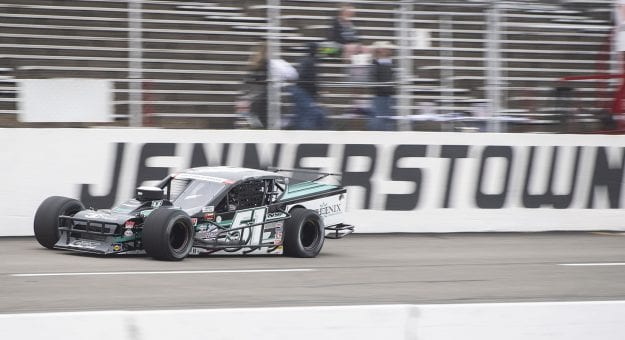 Justin Bonsignore, driver of the #51 Phoenix Communications Inc. Chevrolet, completes laps in practice prior to the Jennerstown Salutes 150 Presented By DGV for the NASCAR Whelen Modified Tour in Jennerstown, Pennsylvania on May 29, 2021. (Nate Smallwood/NASCAR)