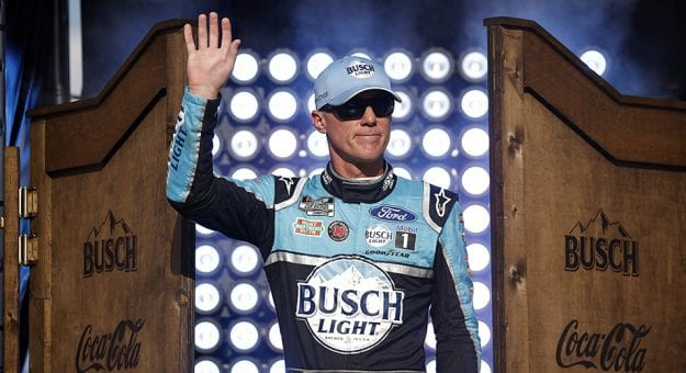 FORT WORTH, TEXAS - JUNE 13: Kevin Harvick, driver of the #4 Busch Light #BuschToTheMoon Ford, waves to fans on stage during driver intros prior to the NASCAR All-Star Race at Texas Motor Speedway on June 13, 2021 in Fort Worth, Texas. (Photo by Chris Graythen/Getty Images) | Getty Images